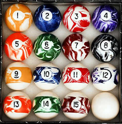 Pool Table Billiard Ball Set, Marble/Swirl Style - Talisman Billiards