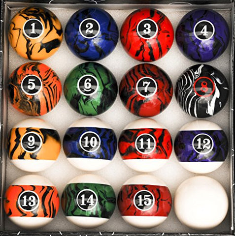 Pool Table Billiard Ball Set, Dark Color Marble Swirl - Talisman Billiards