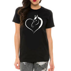 Horse Love Heart Printed T-shirt
