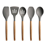 Silicone Kitchen Utensil Set with Acacia Hard Wood Handle,5 Pieces
