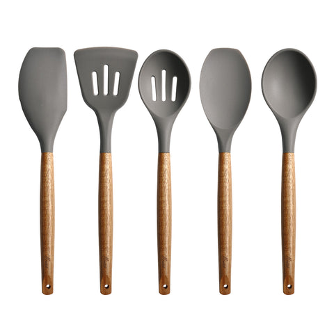 Miusco Non-Stick Silicone Kitchen Utensils Set with Natural Acacia Hard Wood Handle, 5 Pieces, Grey, BPA Free, Baking, Serving and Cooking Utensils
