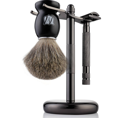 Men's Shaving Kit with Safety Razor,Pure Badger Hair Shaving Brush - Miusco