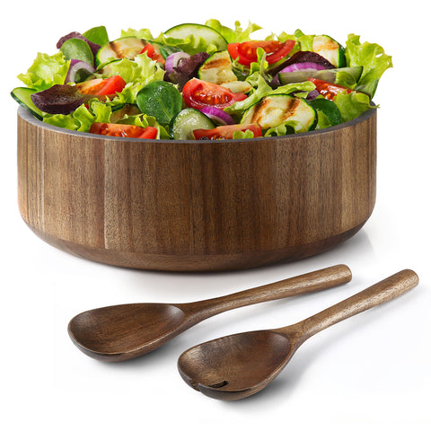 Miusco Wooden Salad Bowl and Tongs Set