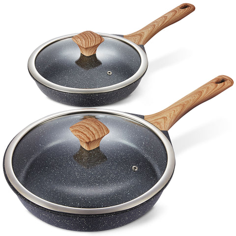 "Nonstick Frying Pan Set with Lids, 10"" & 12"""