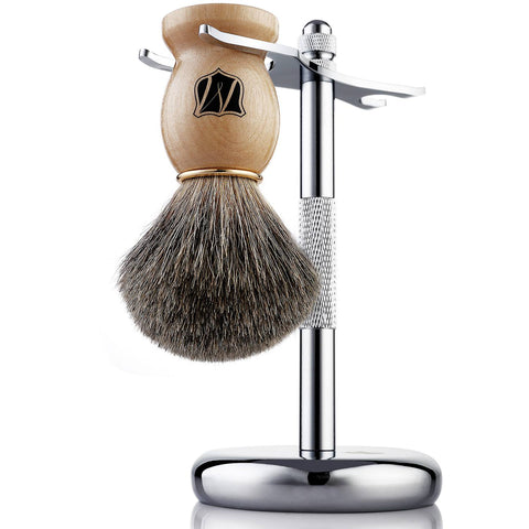 Men's Shaving Kit with Badger Hair Shaving Brush and Stand - Miusco