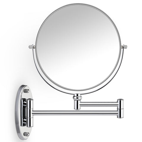 7X Magnifying Bathroom Wall Mirror,Round Extendable Vanity Mirror - Miusco