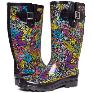 SheSole Floral Rubber Boots Wide Calf - SheSole