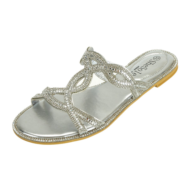 Womens Sliders Silver Sandals With Rhinestones - SheSole