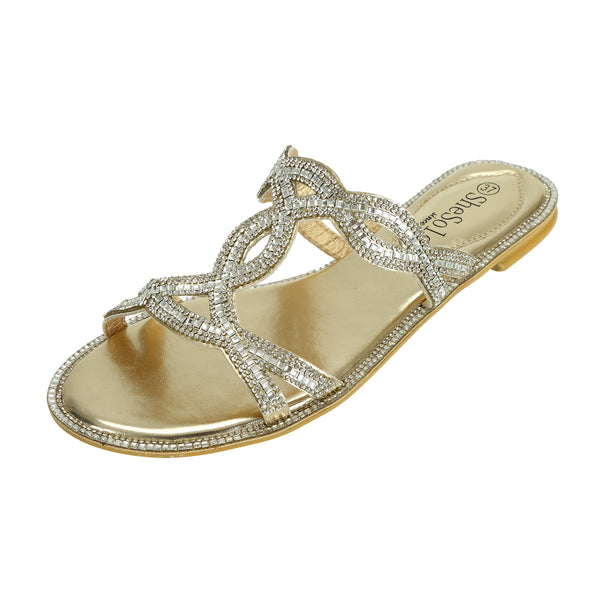 Womens Sliders Gold Sandals With Rhinestones - SheSole