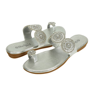 Womens Silver Wedge Sandals Slides - SheSole