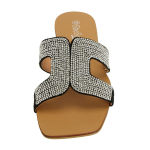 Rhinestones Womens Slide Sandals - SheSole