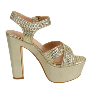 Gold Weave Block Heel Platform Sandals - SheSole