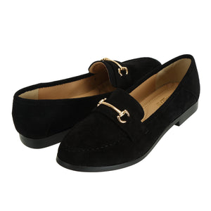 Womens Velvet Black Loafers - SheSole