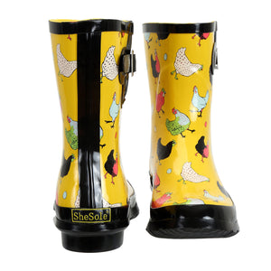 SheSole Chicken Pattern Short Rain Boots For Women - SheSole