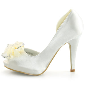 Ivory Wedding Shoes With Bow - SheSole
