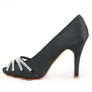 Black Peep Toe Heels Pumps Shoes - SheSole