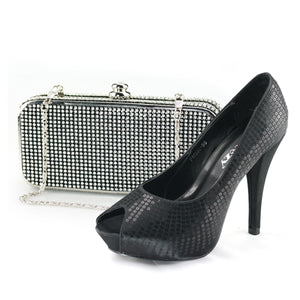Black Sequin Heels Pumps Shoes - SheSole