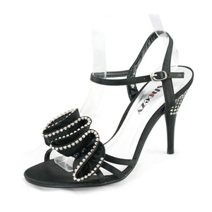 Womens Ankle Strap Black Prom Heels - SheSole