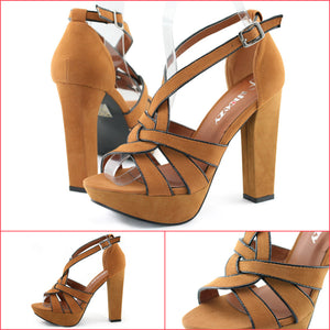 Womens Chunky Heel Strappy Sandals Camel - SheSole