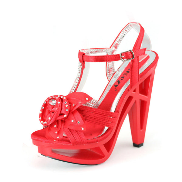 Red Platform Heels Flower Sandals - SheSole