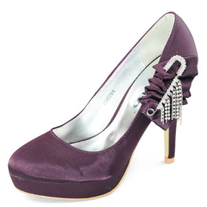 Satin Heels Purple Pumps Shoes - SheSole