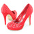 Red Studded Heels Pumps Shoes - SheSole