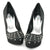 Black Studded Heels Pumps Shoes - SheSole