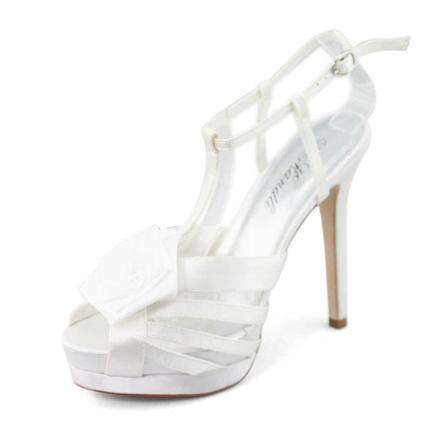 Womens Feather Mid Heel Sandals White - SheSole