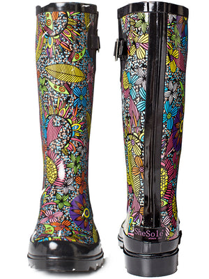 SheSole Floral Womens Rain Boots Wide Calf - SheSole