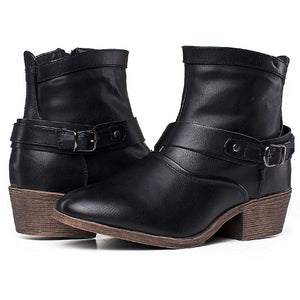 SheSole Womens Western Ankle Boots With Buckles - SheSole