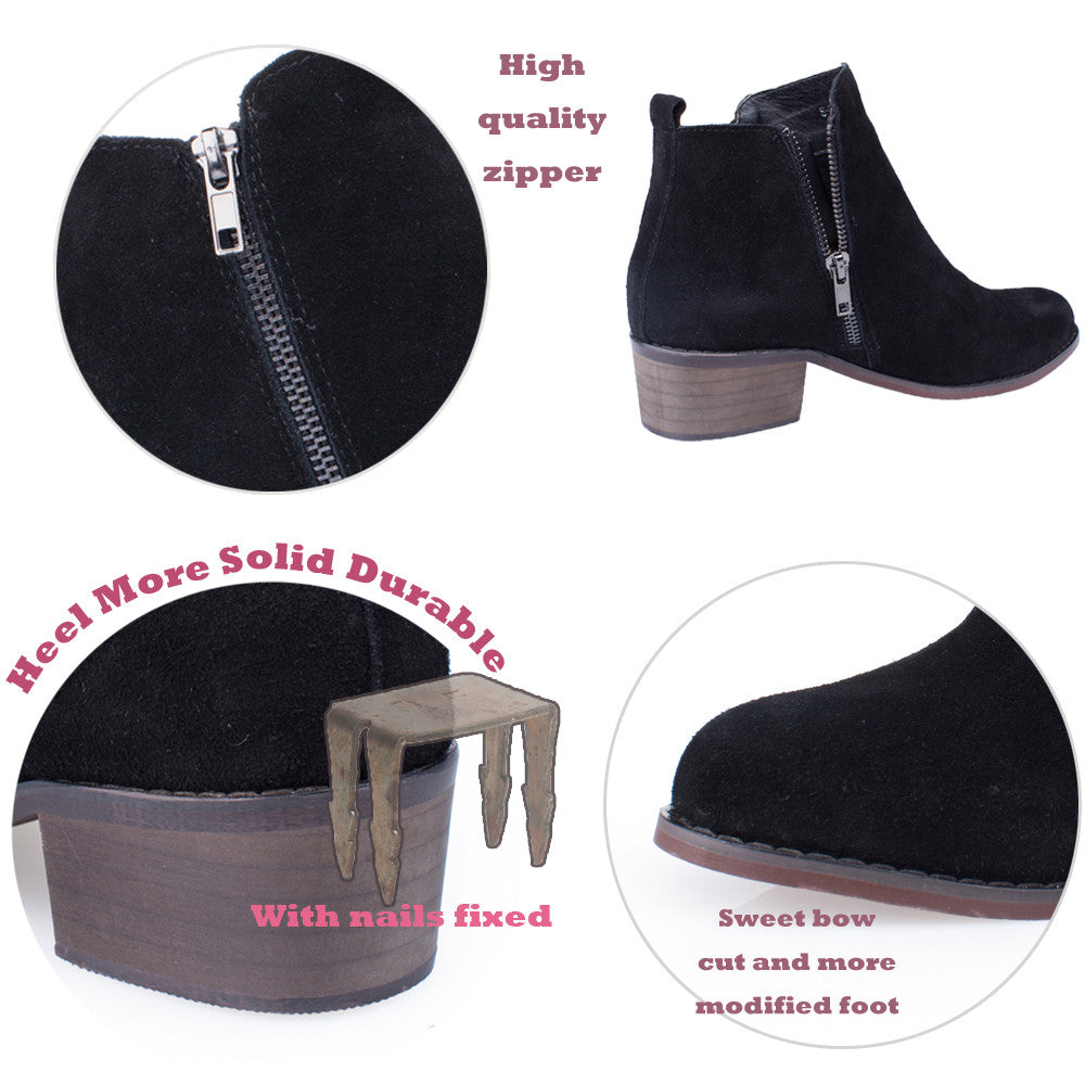d4005a9b60b97 SheSole Women's Ankle Boots Suede Short Grey Taupe Black Booties Stacked  Heel