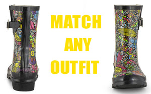 Womens Rain Boots With Buckle - SheSole