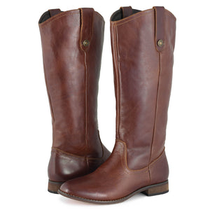 Womens Brown Knee High Cowboy Boots - SheSole