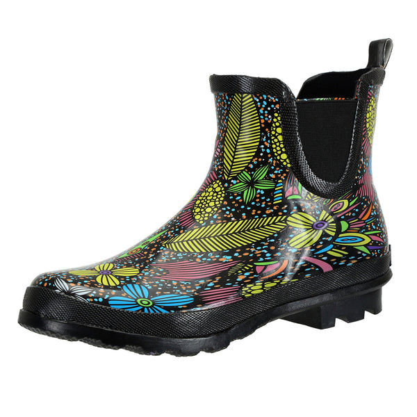 SheSole Floral Chelsea Rain Boots - SheSole