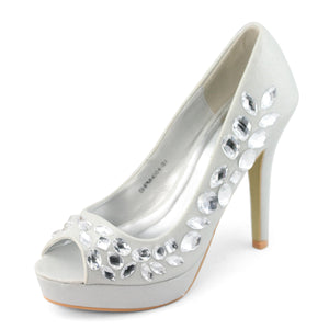 Rhinestones High Heel Stiletto Pumps Wedding Shoes - SheSole