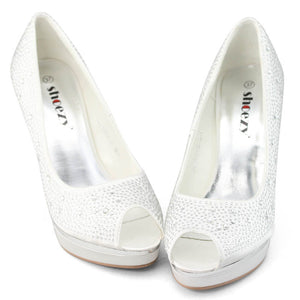 Rhinestone Wedding Shoes With Platform - SheSole