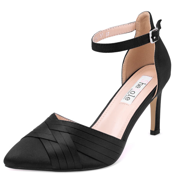 Satin Black Ankle Strap Heels Pumps - SheSole