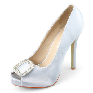 Women's Diamante Clasp Peep Toe Pumps Silver - SheSole
