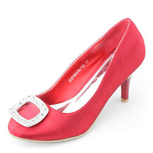 Satin Red Pumps Bridal Shoes - SheSole