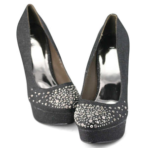 Womens Glitter Platform High Heel Pumps Black - SheSole