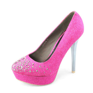 Womens Glitter Platform High Heel Pumps Pink - SheSole