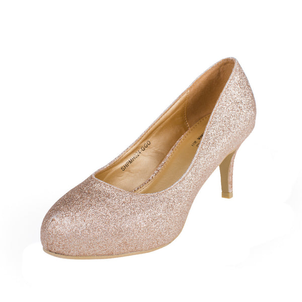 Gold Wedding Dress Shoes Glitter Pumps - SheSole