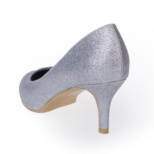 Silver Wedding Dress Shoes Glitter Pumps - SheSole