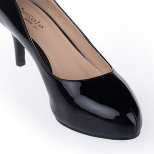 Womens Black Patent Leather Pumps - SheSole