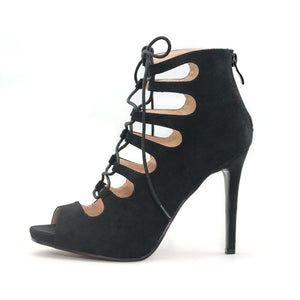 Womens Black Lace Up Heels - SheSole