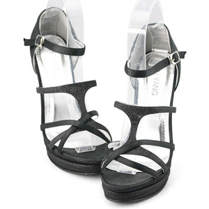 Black Strappy High Heels Prom Shoes - SheSole