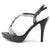 Womens Black Heels T Strap Sandals - SheSole