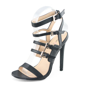 Black Strappy Heels Buckle Sandals - SheSole