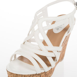 Womens Strappy White Wedge Sandals - SheSole