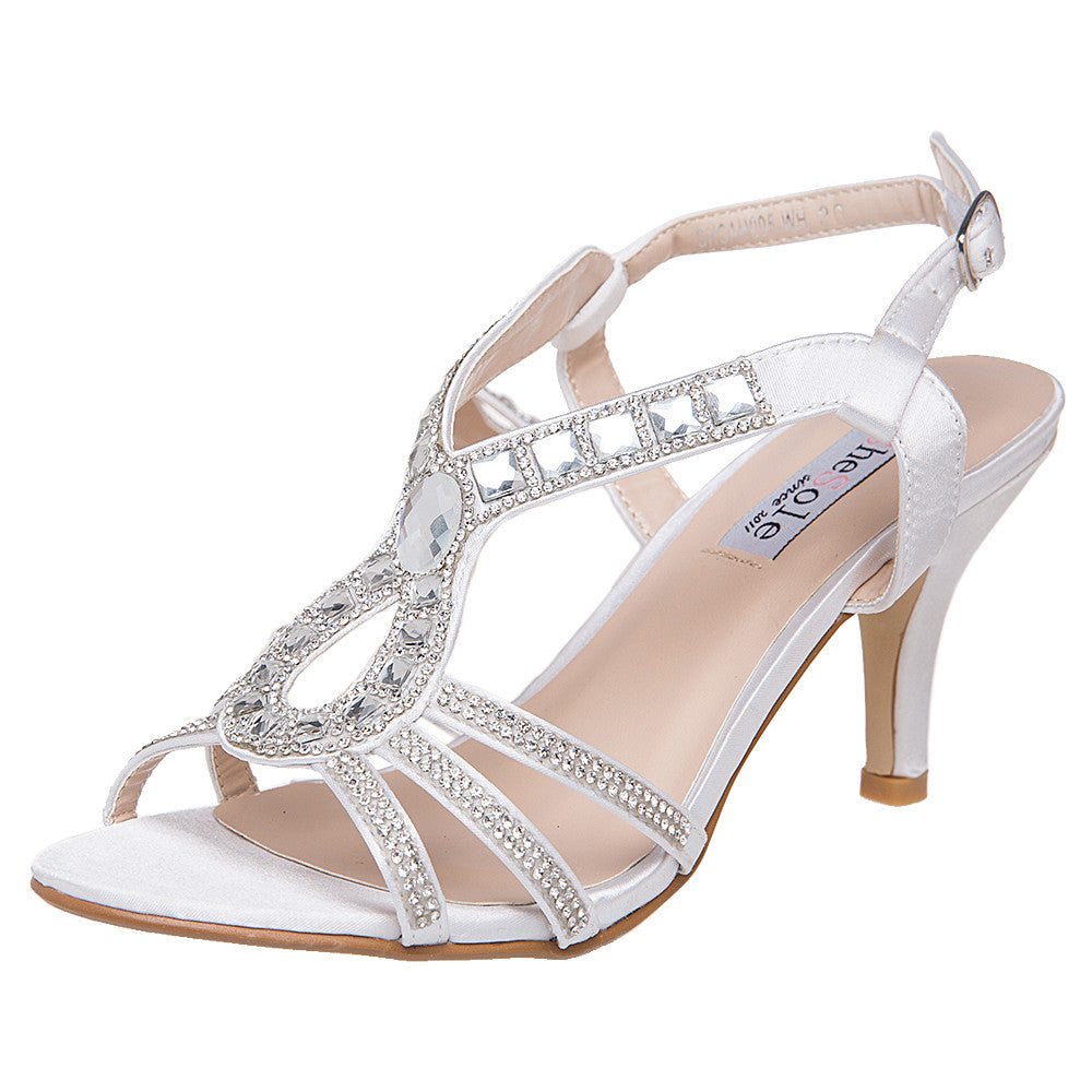 SheSole Womenu0027s Low Heels Rhinestones Wedding Shoes White Silver Sandals